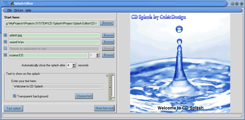 Download CD Splash. This tool is freeware.