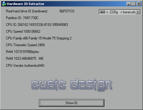 Obtain your computer ID/Hard drive serial number